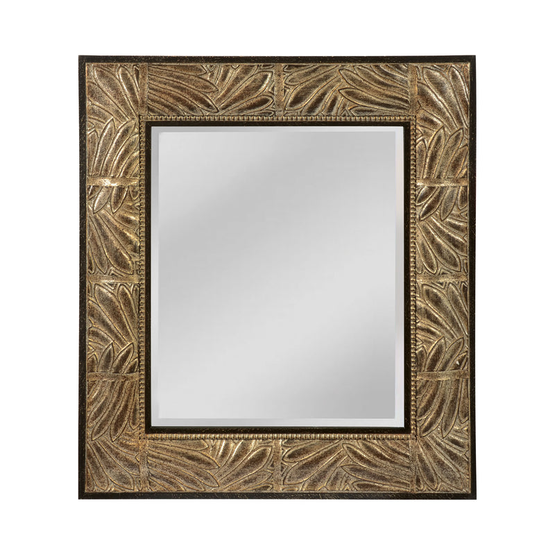 This Beveled Mirror Has Appealing Leaf Patterned Frame - Antique Silver And Matte Gold Ebony