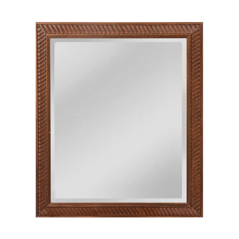 Angled Carved Wood Frame Mirror - Small - Bronze