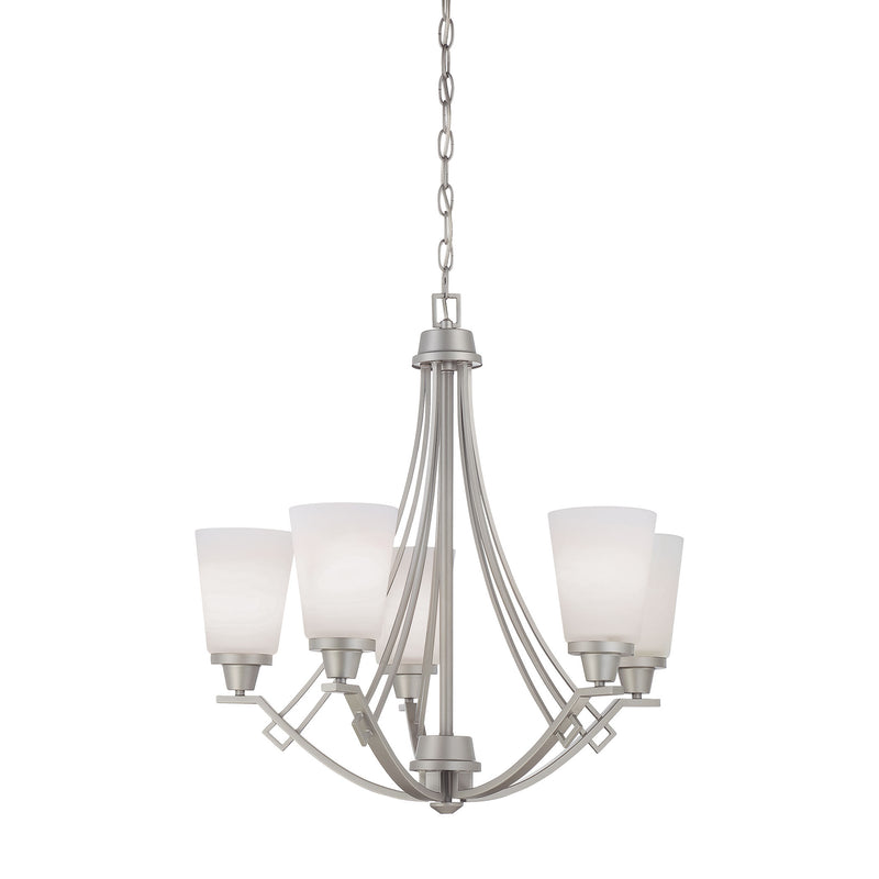 WRIGHT chandelier Matte Nickel 5x100W - Matte Nickel