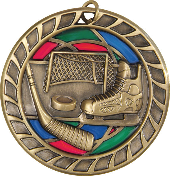 Stained Glass Medal - Hockey - 2.5