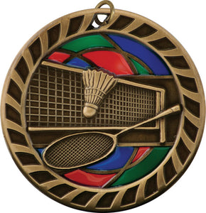 Stained Glass Medal - Badminton - 2.5""
