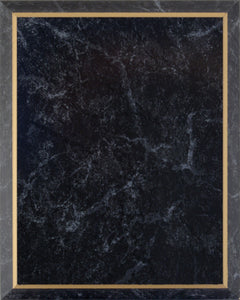 Laminate Plaque Board - Black Marble with Gold Trim
