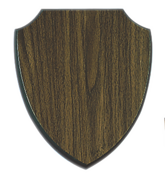 Shield Plaque - Walnut Finish - 8-1/8