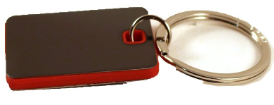 Keychain - Red w/black plate - Rectangle