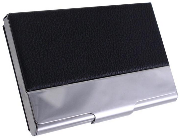 Business Card Case - PU Leather w/Silver Bar
