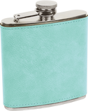 Flask - Leatherette Teal with Black Engraving