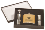Flask Gift Set - Brown Leather