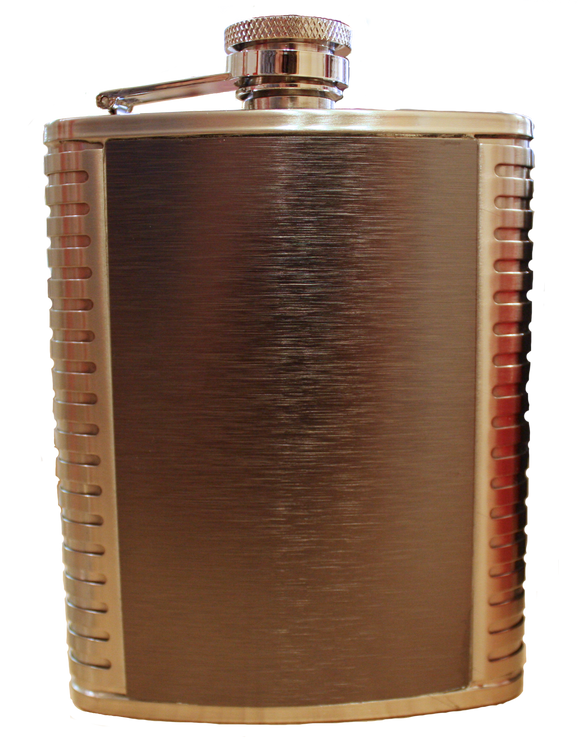 Flask - Matte Silver w/striped sides - 6 oz