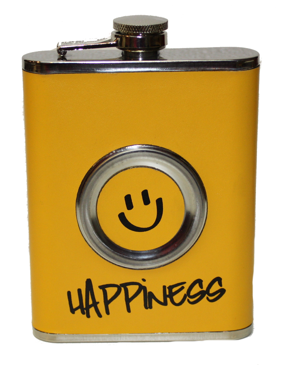 Flask - Happiness yellow w/ cup - 8 oz