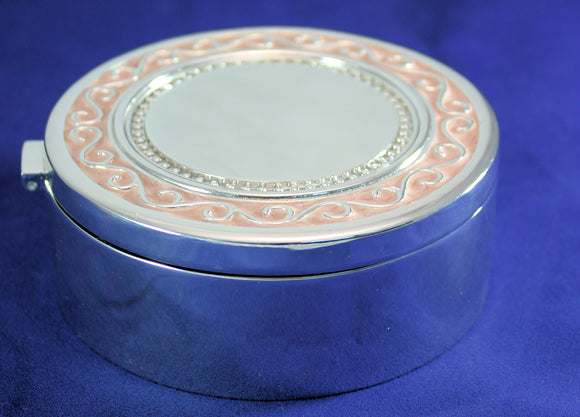 Trinket Box - Silver w/Pink Crystal