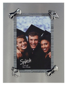 Grad Frame - 4x6 Silver Scroll & Cap