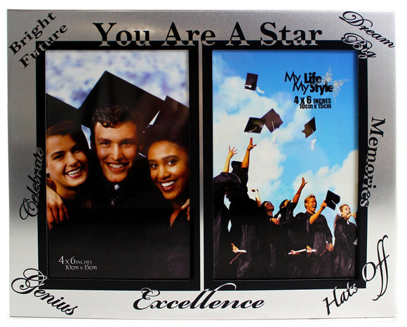 Grad Double Frame - 4x6 You Are a Star - Alum