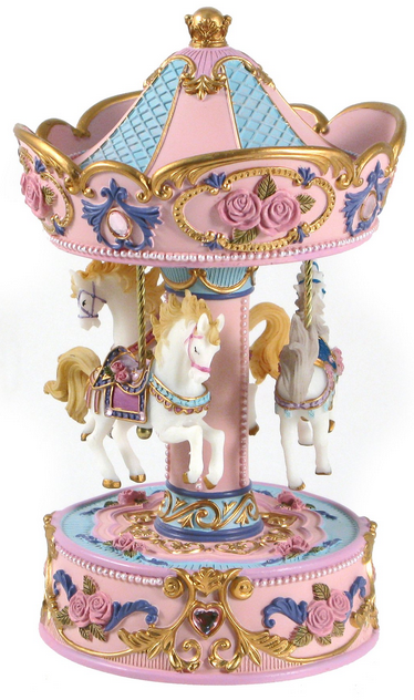 Musical Carousel - 3 Horse - large pink