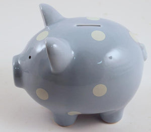 Bank - Polka Dot Pig - blue
