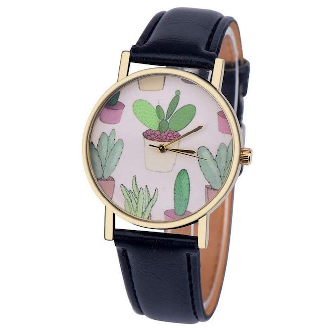 Women's Cactus Watch w/ Faux Leather Band-Black | What-A-Prick Shop