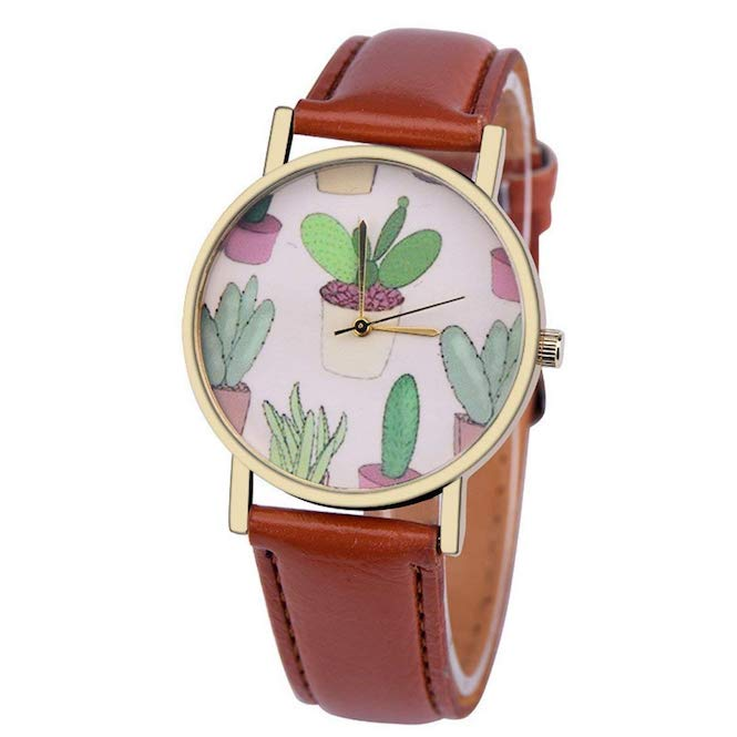 Women's Cactus Watch w/ Faux Leather Band-Brown | What-A-Prick Shop