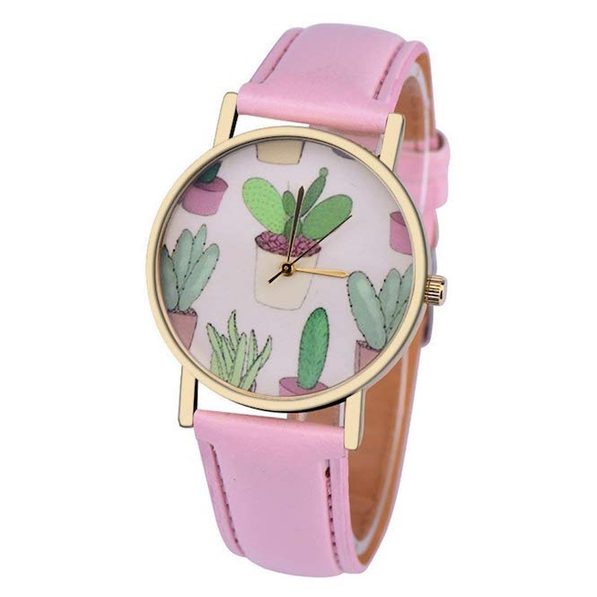 Women's Cactus Watch w/ Faux Leather Band-Pink | What-A-Prick Shop