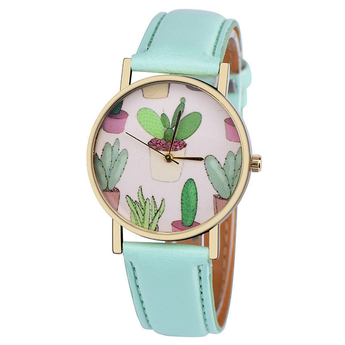 Women's Leather Band Cactus Wrist Watch