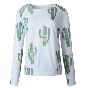 Women's Long Sleeve Cactus O-Neck