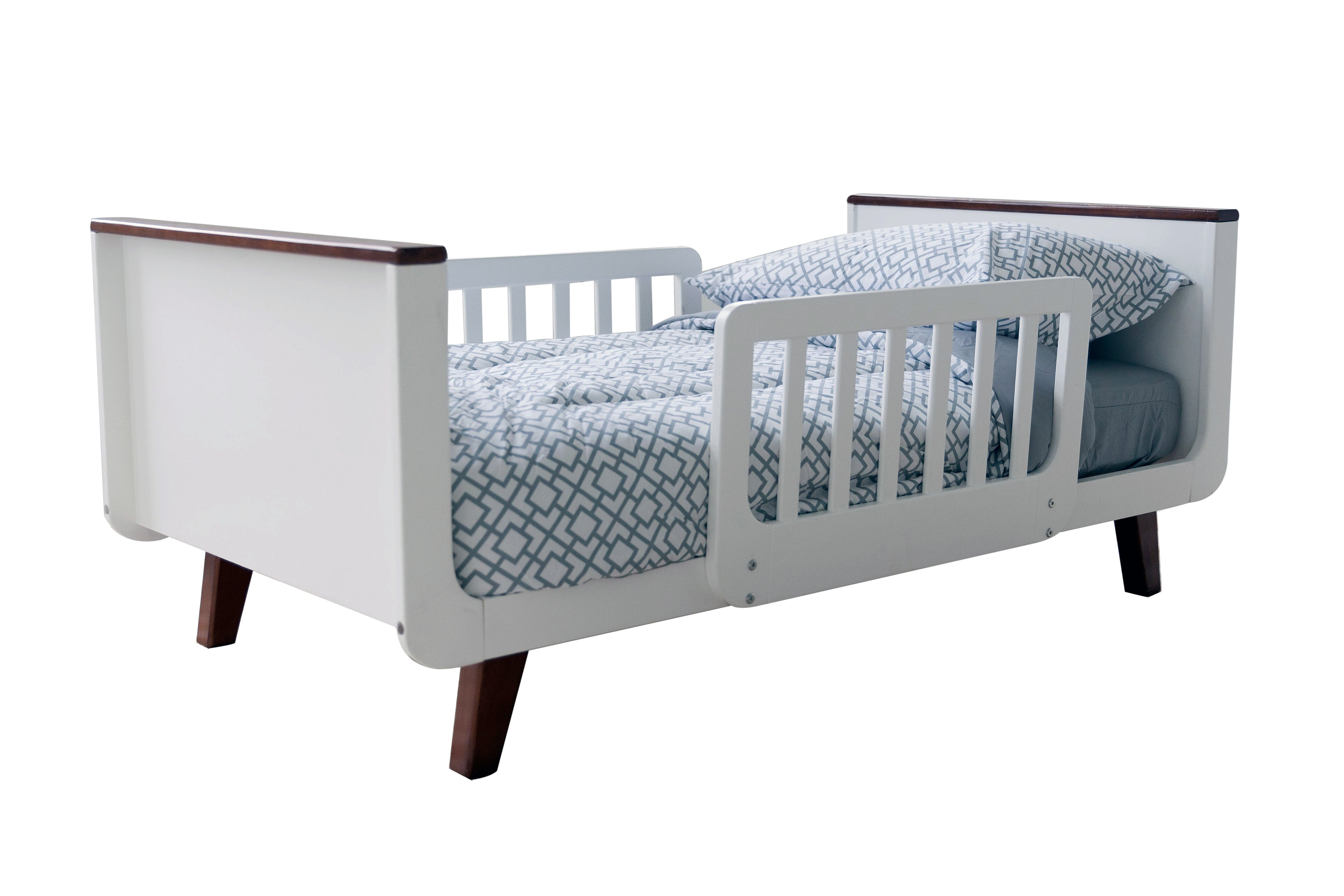 Earl Grey-White New Little Partners Mod Toddler Bed