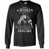 Never underestimate a woman who listens to kid rock and was born in January shirt, hoodie, tank