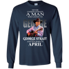 Never underestimate a man who listen to george strait and was born in April shirt, hoodie, tank