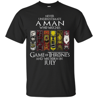 Never underestimate a man who watches game of thrones and was born in July shirt, hoodie, tank