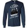 Never underestimate a girl who listens to green day and was born in January shirt, hoodie, tank