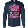 December 1958 60 years of being Awesome shirt, hoodie, tank
