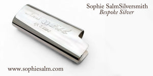 Silver Bic lighter cover engraved