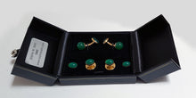 Jagdgeschenk Jagdjuwelier Jagdsmoking Green and gold plated sterling silver dress studs Halder SophieSalm