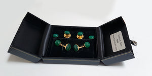 Green and gold plated sterling silver dress studs - SophieSalm Jagdgeschenk
