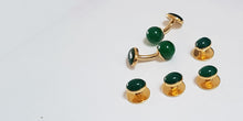 Jagdgeschenk Jagdjuwelier Jagdsmoking Green and gold plated sterling silver dress studs  SophieSalm