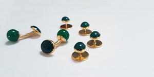 Green and gold plated sterling silver dress studs - SophieSalm Jagdgeschenk Jagdjuwelier Jagdsmoking