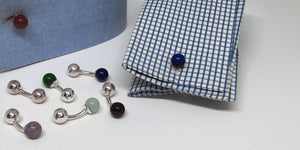 Handmade Sterling Silver Ball Cufflinks ( Dumbbell / Barbell cuffs) - SophieSalm