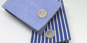 Handmade retro 50 Pfennig Cufflinks made from Sterling Silver. - SophieSalm