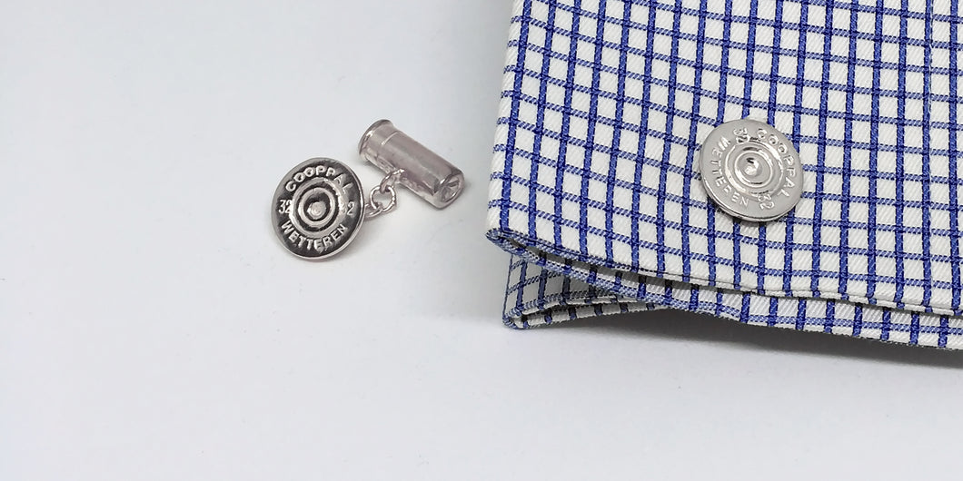 Sterling Silver Reversible Bullet & Shotgun Cartridge Cufflinks - SophieSalm Jagdgeschenk