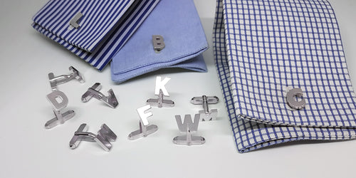 Single Letter A to Z Cufflinks in Sterling Silver - SophieSalm