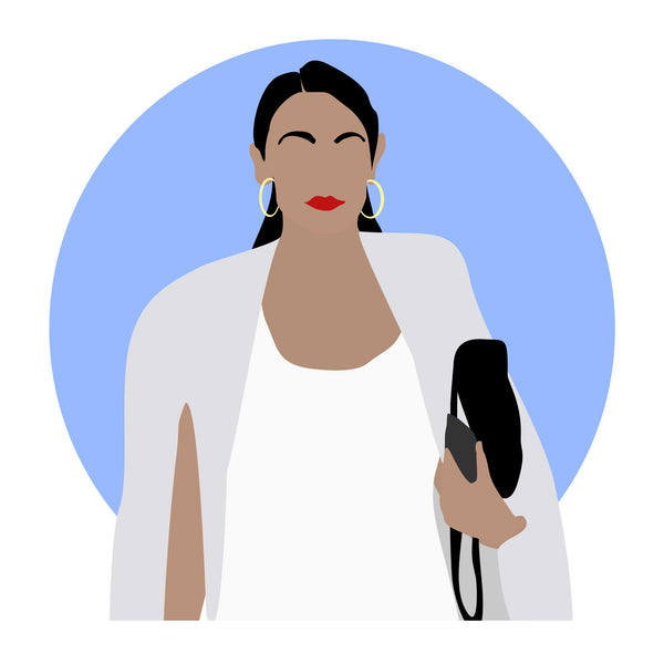 Alexandria Ocasio-Cortez (AOC) icon image. Pop culture. Minimal art. T-shirt, tote bag, poster and more. Gifts for fans of Alexandra Ocasio Cortez, AOC. Democrat. Democratic party support.