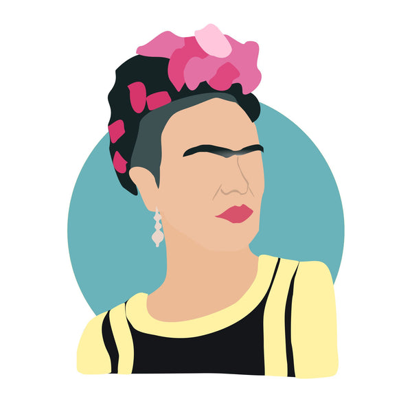 Frida Kahlo icon image. Pop culture. Minimal art. T-shirt, tote bag, poster and more. Gifts for fans of Frida Kahlo.