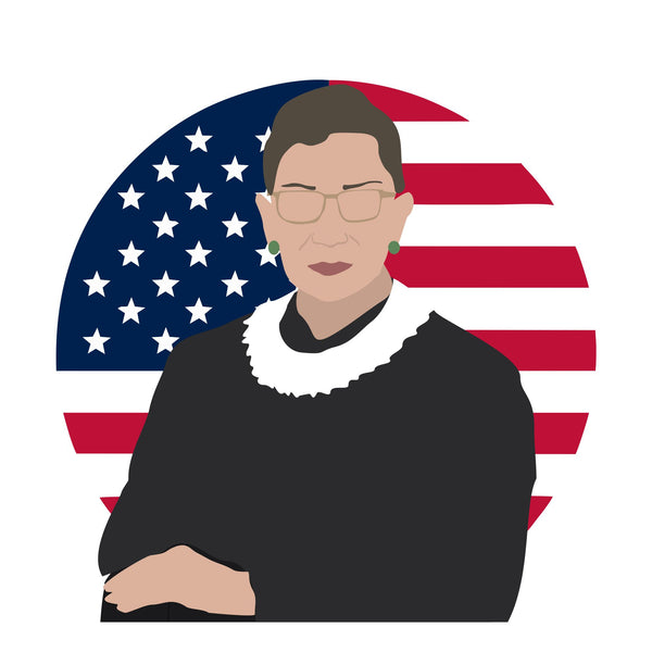Ruth Bader Ginsberg (RBG) icon image. Pop culture. Minimal art. T-shirt, tote bag, poster and more. Gifts for fans of Ruth Bader Ginsberg, RBG.