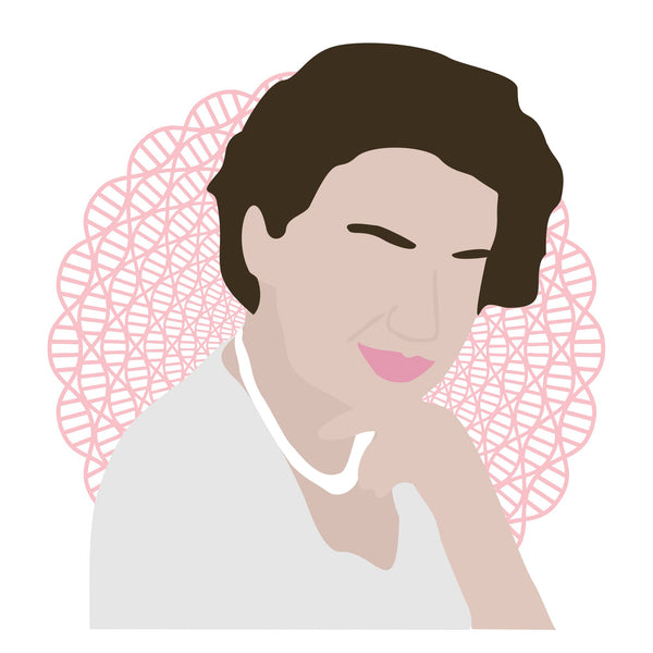 Rosalind Franklin icon image. Pop culture. Minimal art. T-shirt, tote bag, poster and more. Science gifts and presents. Gifts for fans of Rosalind Franklin.