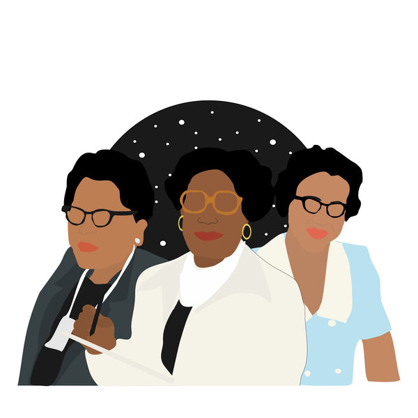 NASA women icon image. Katherine Johnson, Dorothy Vaughan and Mary Jackson. Pop culture. Minimal art. T-shirt, tote bag, poster and more. Gifts for fans of NASA. NASA gifts, presents and clothing.