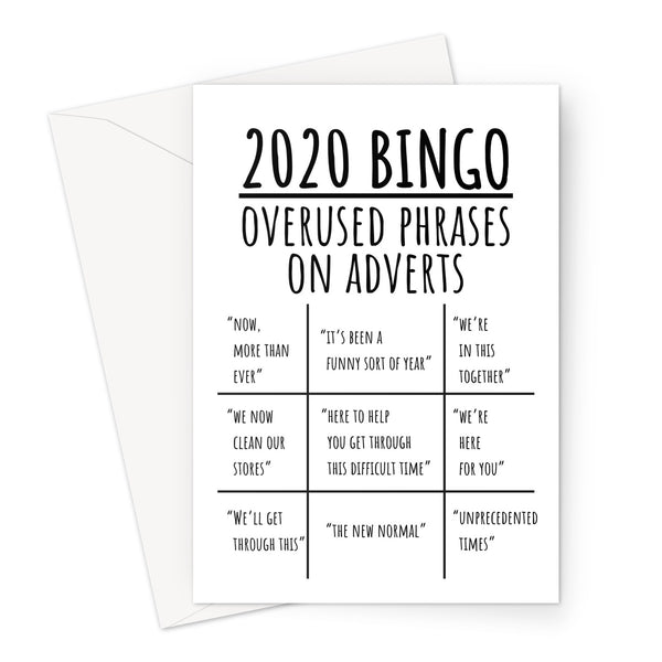 2020 BINGO Overused Phrases On Adverts Funny Annoying Birthday Anniversary Christmas Pandemic Lockdown Now More Than Ever British UK New Normal Meme Greeting Card