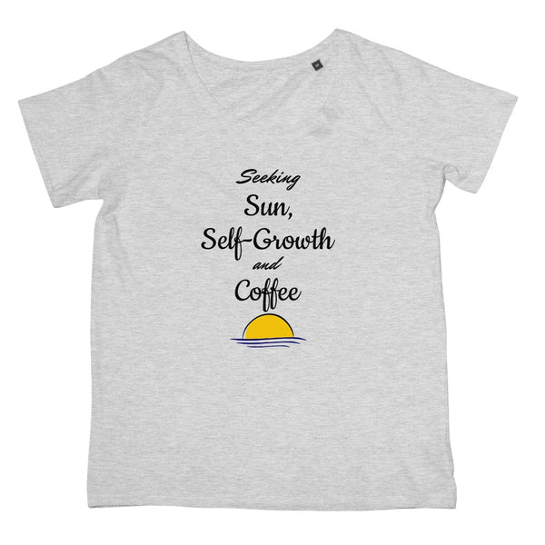 Travel Collection Apparel - 'Seeking Sun Self Growth & Coffee' T-Shirt (Women's Fit)