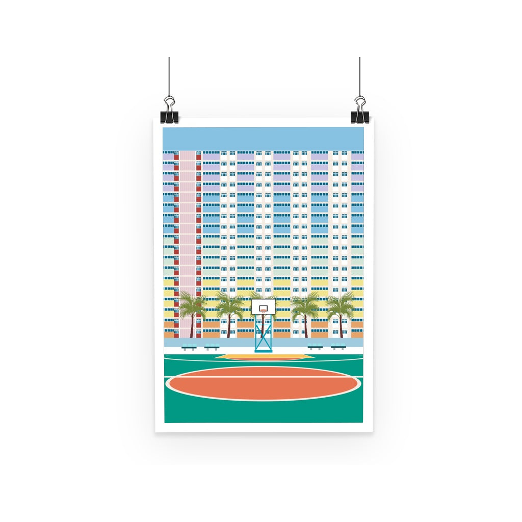 Hong Kong Choi Hung Basketball Court Minimal Poster