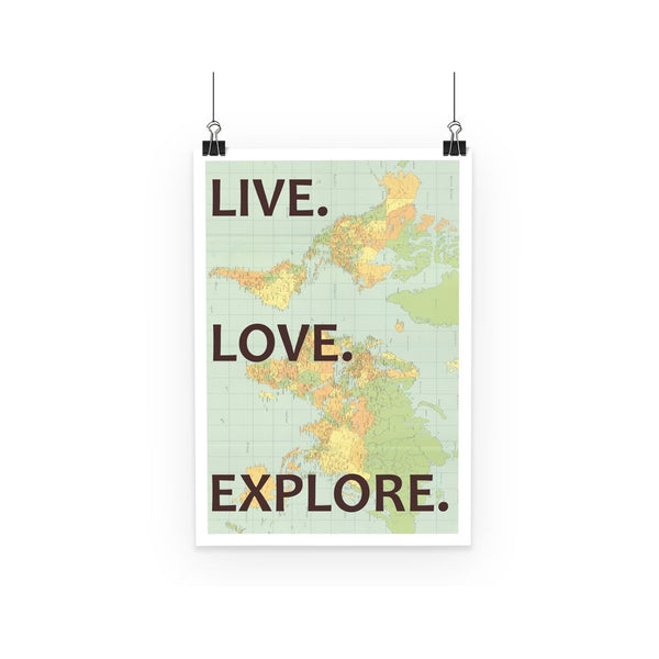 Travel Collection Poster - 'Live, Love, Explore' World Map Poster