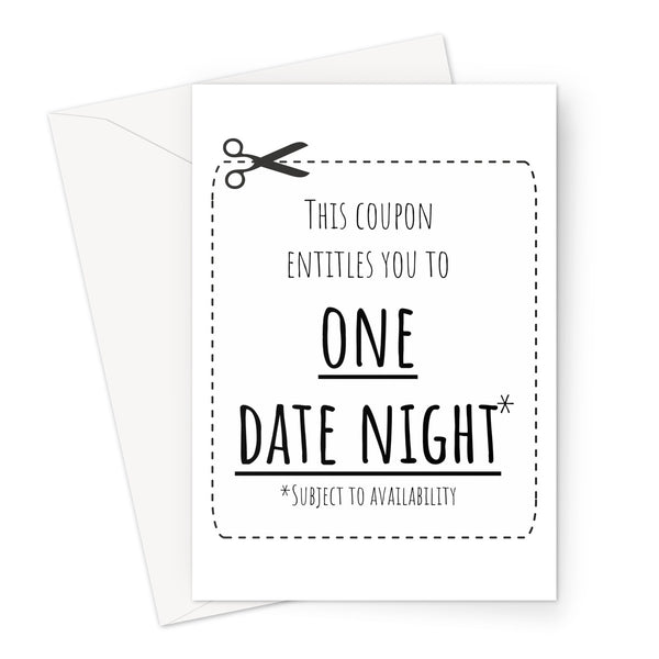 This Coupon Entitles you to ONE DATE NIGHT - Funny Birthday Anniversary Love Couples Quarantine Lock Down Self Isolation Miss You Greeting Card