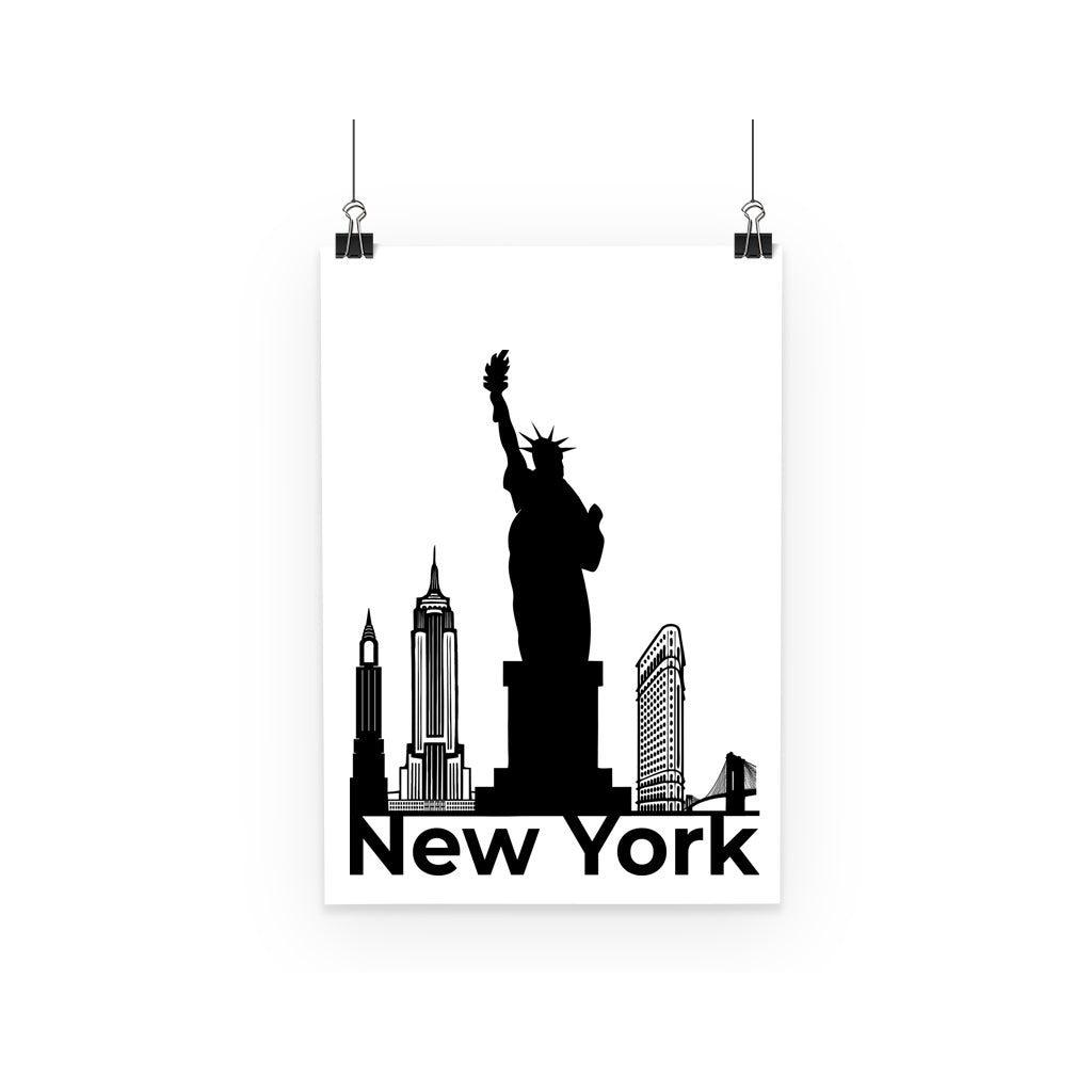 Travel Collection Homeware - New York City Minimal Poster (Black & White)