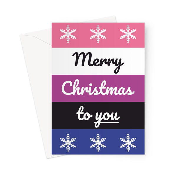 Merry Christmas to You Gender Fluid Pride Flag They/Them Love Xmas LGBTQ + Non-Binary Greeting Card